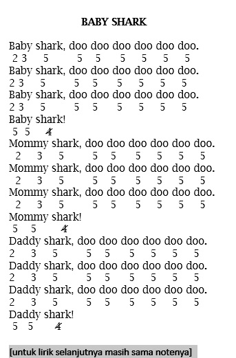 Not Angka Lagu Baby Shark